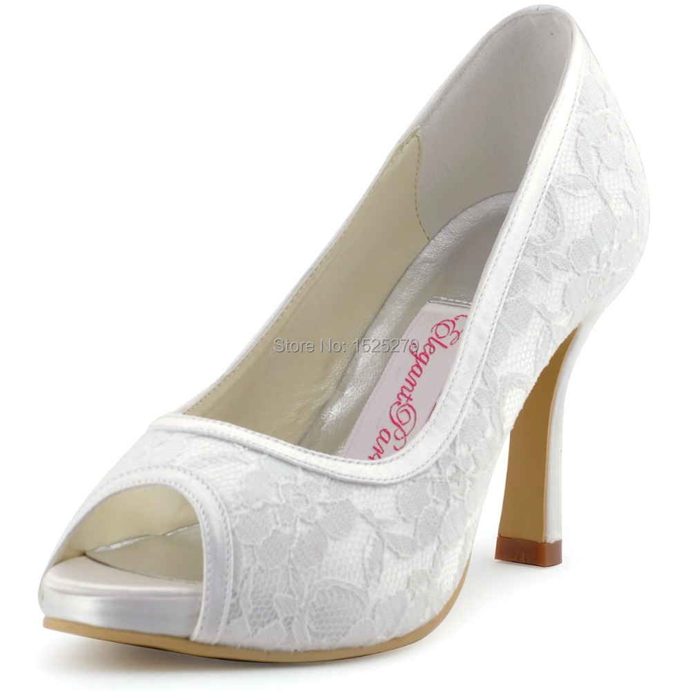014-IP Ivory White Women Bride Bridesmaids Evening Bridal Party Pumps Peep Toe High Heels Inside Platforms Lace Wedding Shoes