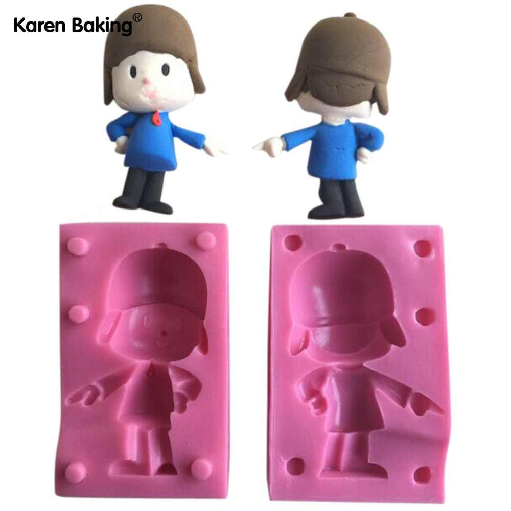 2 Pçs/set 3D Silicone Fondant Bolo de Molde Para Macking Pocoyo Para Kids-C463