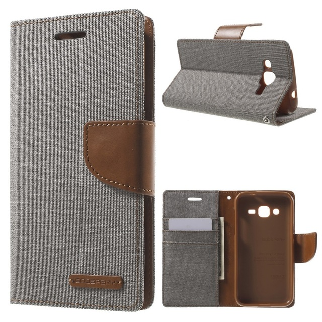 GOOSPERY for Galaxy J2 SM-J200 Cover Canvas Wallet Leather Case for Samsung Galaxy J2 SM-J200