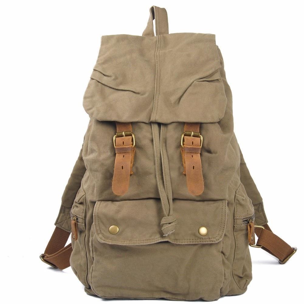 DAYGOS Vintage Canvas Backpack Leather School Bag Man's Rucksack Larger Capacity Travel Backpack For Men game pokemon go pocket monste pikachu charizard backpack canvas print men women backpack bag travel bag rucksack