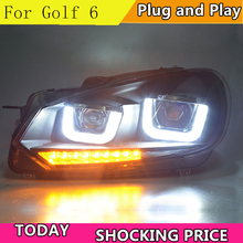Estilo do carro para vw golf 6 farol 2009 2012 sinal dinâmico golf6 led drl hid cabeça lâmpada anjo olho bi xenon feixe acessórios