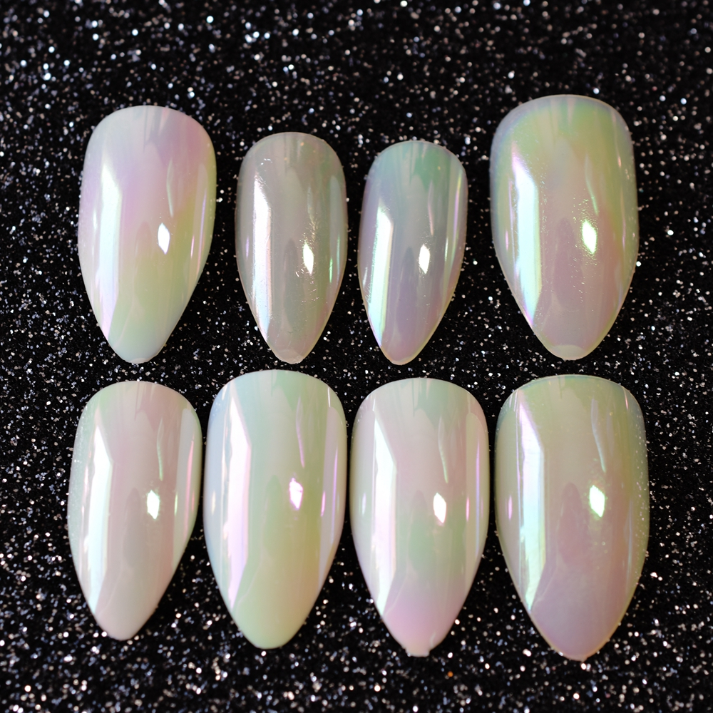 24pcs Almond Design Acrylic Nail Tips Yellow Symphony Medium Mirror Fake False Nails For Women Daily Wear Makeup Manicure E27 In From Beauty