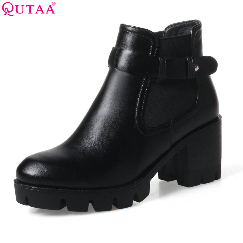 QUTAA 2018 Women Ankle Boots Western Style Square High Heel Round Toe Women PU leather Buckle Ladies Motorcycle Boots Size 34-43 vinlle women boot square low heel pu leather rivets zipper solid ankle boots western style round lady motorcycle boot size 34 43