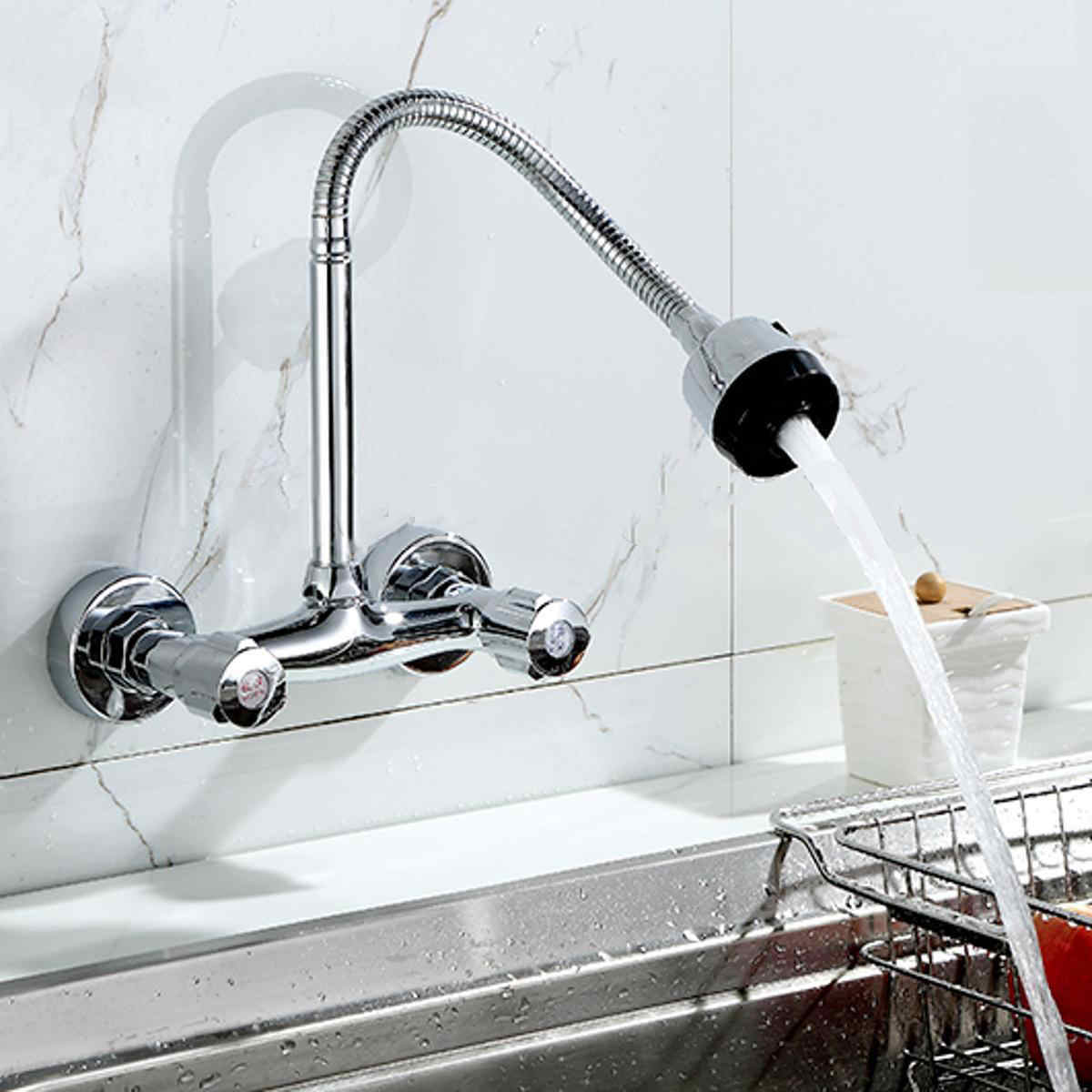 Us 26 94 35 Off Mayitr Wall Mount Kitchen Sink Faucet 360 Degree Pipe Swivel Pull Down Spray Mixer Tap Chrome In Faucets