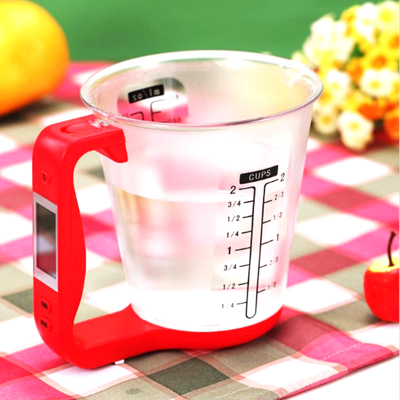 Digital Cup Scale Electronic Measuring Household Jug Scales with LCD Display Temp Measurement Measuring cups Cooking