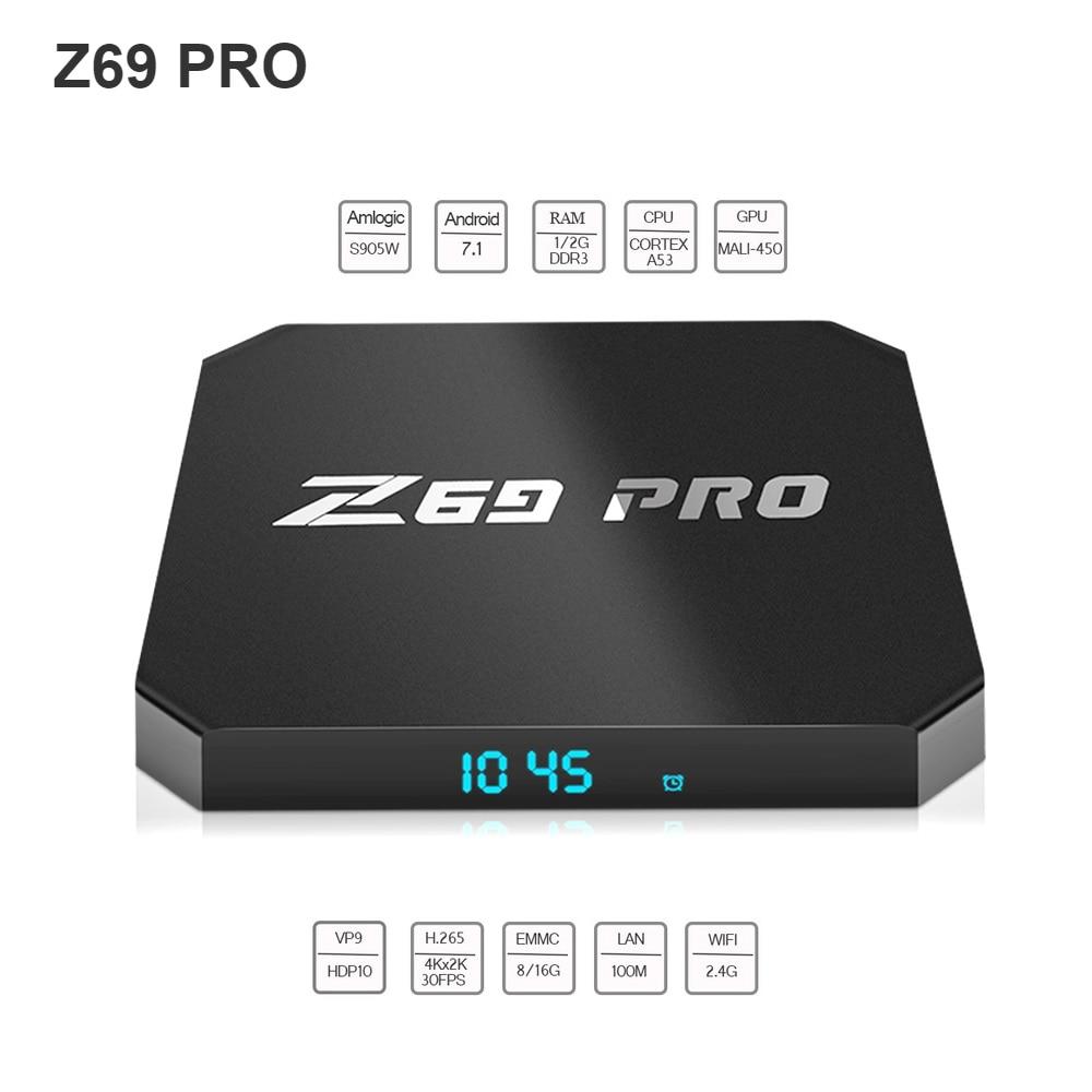 Z69 PRO Smart Android TV Box Android 7.1 Amlogic S905W Quad Core H.265 8G / 16G WiFi LAN HD Smart Set-top Box Media Player цена