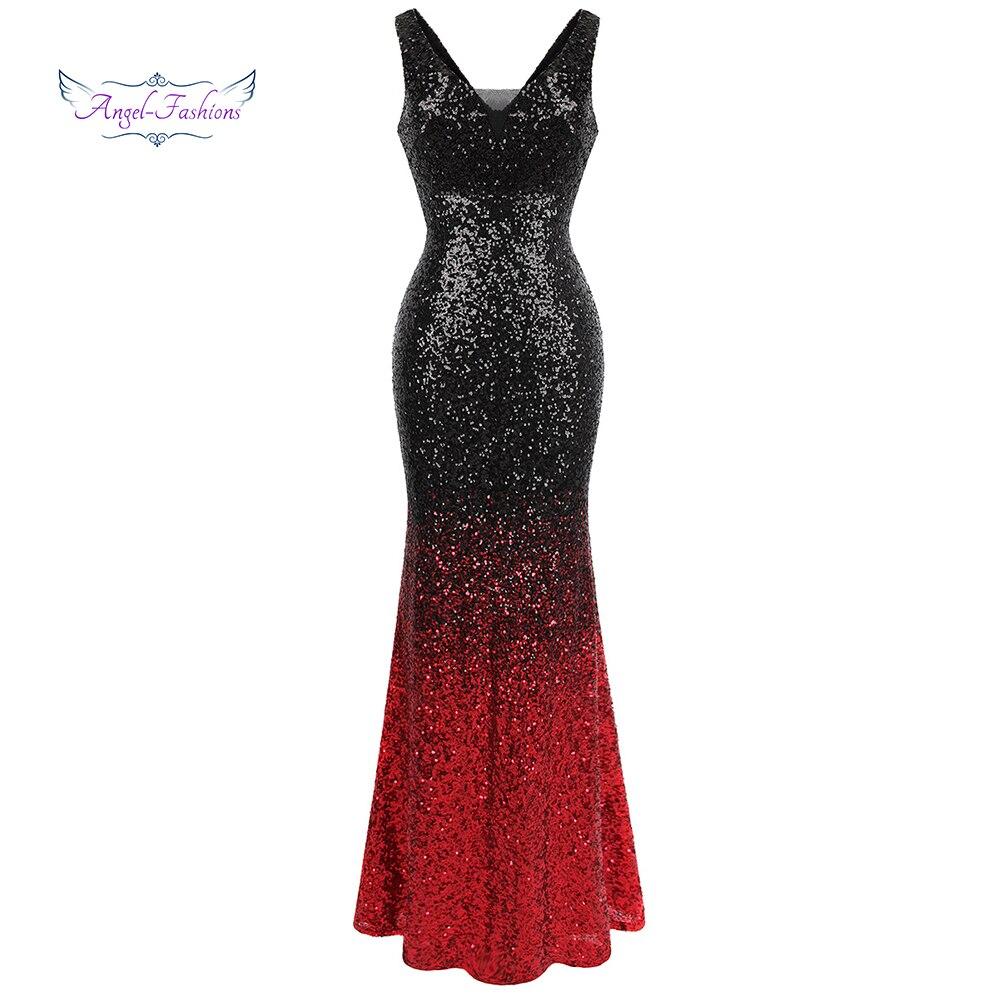 Angel-fashions Femmes Gradient de Soirée Robes à Paillettes Col En V Sirène Contraste Robe Couleur Du Parti Noir Rouge 382