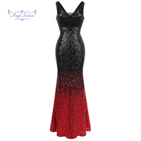Angel fashions Women's Gradient Evening Dresses Sequin V Neck Mermaid Contrast Color Party Gown Black Red 382