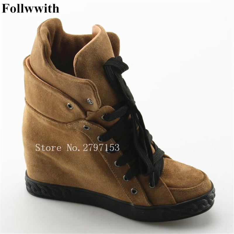 2018 Follwwith Suede Hidden Wedge Platform Women Ankle Booties Lace Up Height Increasing Short Boots Shoes Woman Casual hidden wedge platform fuzzy boots