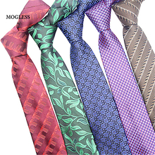 Mogless Classic Mens Ties New Design Neck Ties 7cm Plaid Printed Striped Ties for Men Formal Business Wedding Party Gravatas