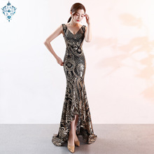 Ameision New Sexy Deep v neck Mermaid Evening Dress Gold Sequin Shining Short Front Long Back Slim Party Dresses