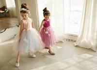 Retail 2017 Summer Girls Party Dresses Girls Ball Tulle Sleeveless Princess Maxi Dresses Fashion Dance Dress