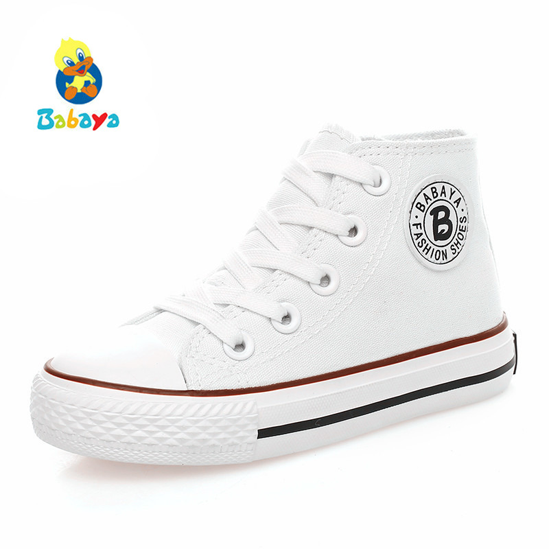 Kids shoes for girl children canvas shoes boys sneakers 2017 Spring autumn girls shoes White High Solid fashion Children shoes kids shoes girls boys pu leather lace up high children sneakers girl baby shoes sport autumn winter children shoes