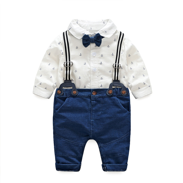 63feedb16 2018 spring autumn infant clothes baby boy clothing sets fashion cotton t- shirt + suspenders jeans newborn baby boy clothes