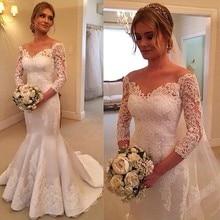 2018 Sweep Train Vestido De Novia Lace White Backless Mermaid Sweetheart Floor Length Three Quarter Wedding Dresses Bridal Gown