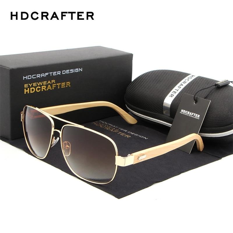 77cab8fbd HDCRAFTER Cool Brand Designer Sun Glasses for Women Bamboo Leg Metal Frame Sunglasses  Men Women Wooden