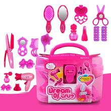 Kids Beauty Salon Toys Case with Hairdryer Comb Perfume Bottle Lipstick Girls Pretend Play Set