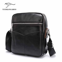 YUESKANGAROO New Arrival Men S Black Shoulder Bag Satchel Genuine Cowhide Leather Messenger Bags For Men