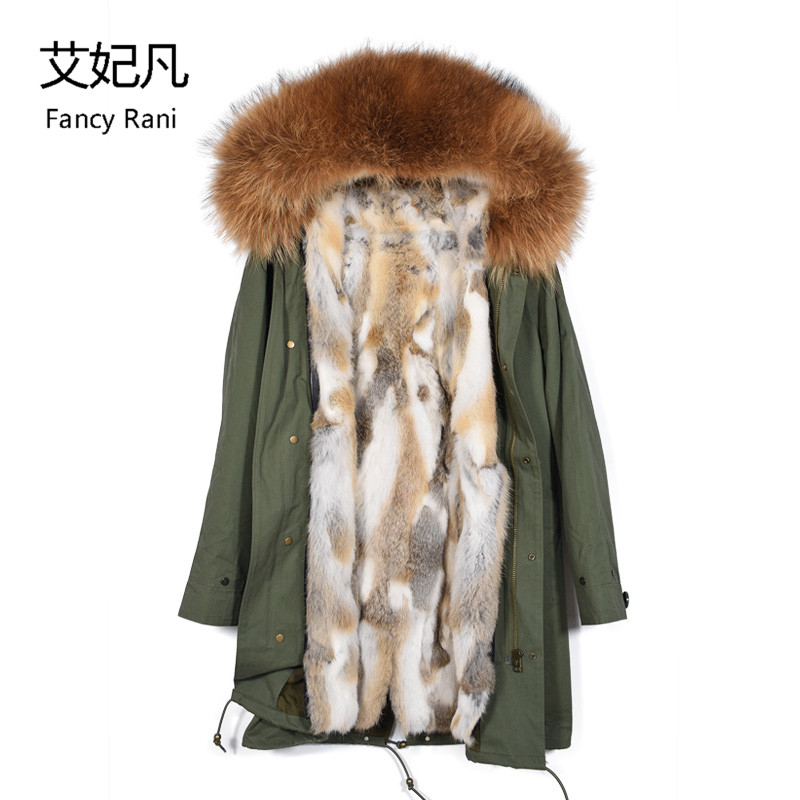 2018 New Rabbit Fur Coat Hooded Raccon Fur Collar Black Winter Long Jacket Thick Fur Parkas Outwear Women Natural Real Fur Coats