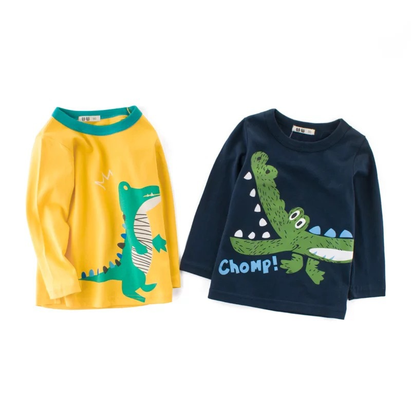 Baby Shirt Boys Tops Dinosaur-Pattern Long-Sleeved Children Cartoon Casual Cotton Tees