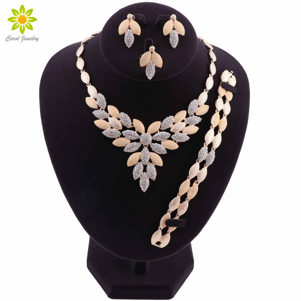 Dubai Gold-color Jewelry Set Costume Design Brand Nigerian Wedding Jewelry Set Fashion African Beads Jewelry Sets Women