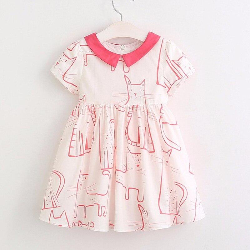 Hurave 2017 Summer Girl Cartoon Clothes Kids Cat Dress Girls Dress vestidos Children Spring Dress