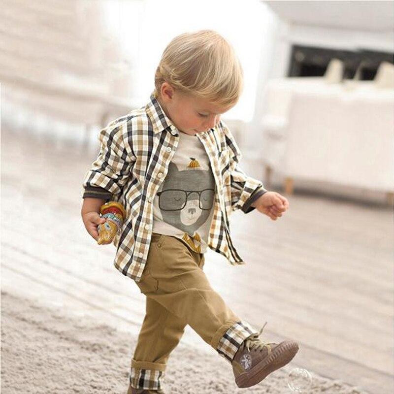 3 Pcs Baby Boys Clothes Suit Kids Clothes Sets Outfits Vintage European Style 2017 Children Clothing Plaid Shirt Jeans Coat 1381
