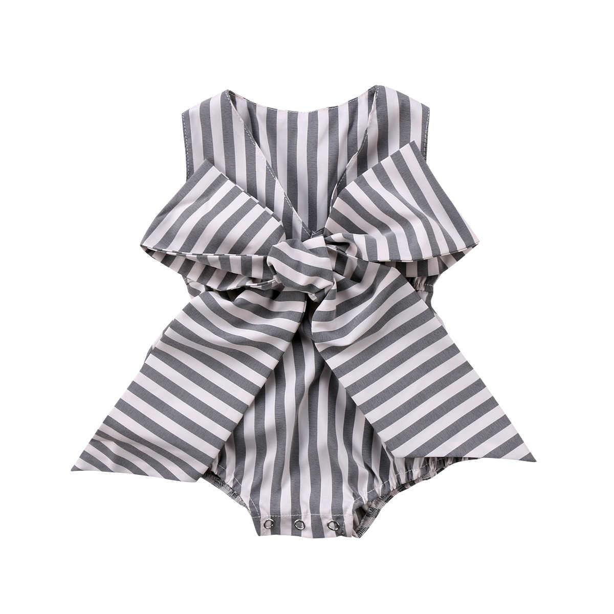 3fa101f2f32 Newborn Baby Girl Bodysuits Sleeveless Striped V-neck Princess Summer Girls  Clothing Bow Cotton Cute