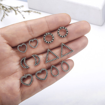 Antique Silver Color Stud Earrings Set Bohemian Vintage Moon Sun Earrings For Women 5