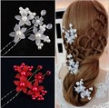 6pcs/lot Wedding Bride Flower Hair Pins. Party Prom Woman Girls Resin Flower hairpins Clips Hair Accessories