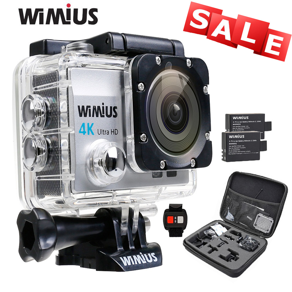 WiMiUS Q3 Action Sport Camera 2.0 Inch 4k Full HD 16MP Go Waterproof 40M Pro Accessories Kit + 2 Batteries +2.4G Remote Control бутылка 0 4 л asobu ice t 2 go фиолетовая it2go violet