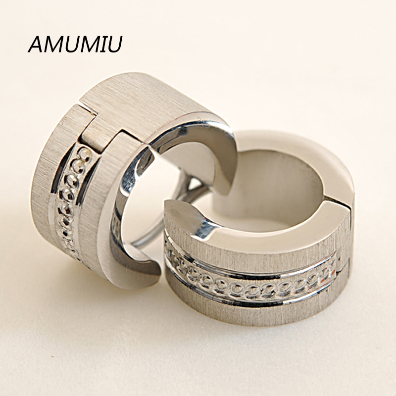 AMUMIU Fashion Jewelry! Men Earrings 316L Stainless Steel Stud Earrings Small Circle Punk Biker Accessory Wholesale KE009