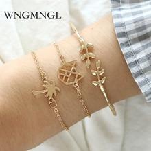 WNGMNGL 3pcs/Set Fashion Bohemia Olive branch Coco Link Chain Charm Bracelet Bangle for Women Gold Bracelets Female Jewelry Gift цена