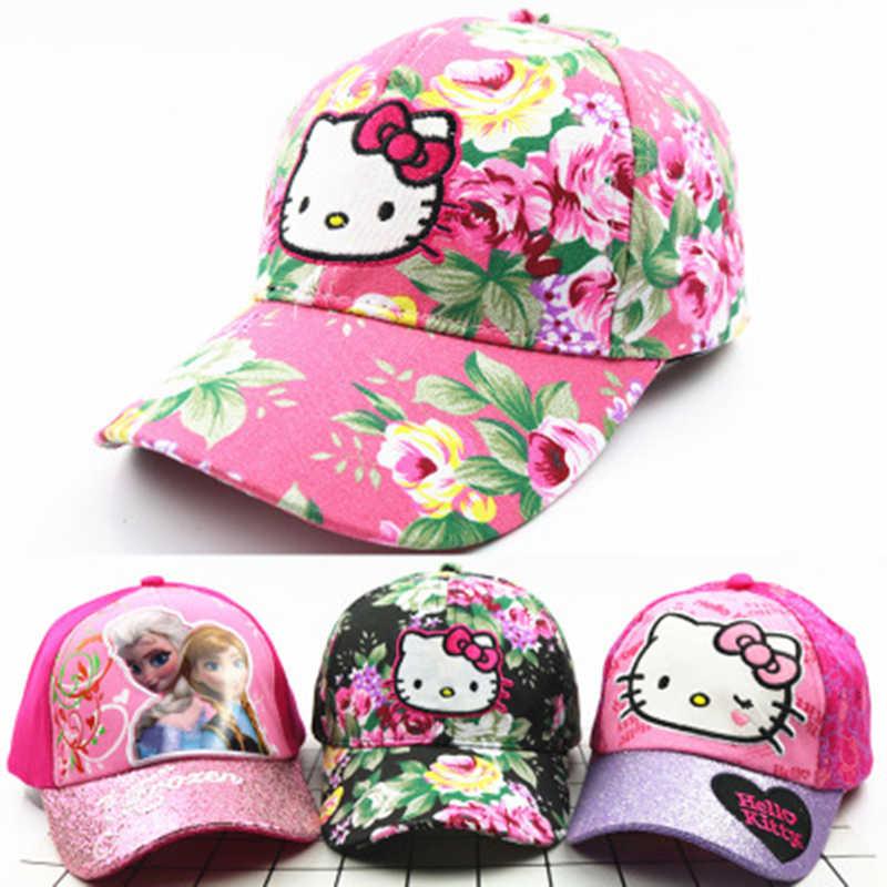 4cc1fbdc0 Boy Girl Hats Curve Long Baseball Cap Children Cute Princess Kids Cartoon Hello  Kitty Summer Sun