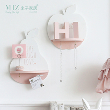 Miz Home Apple Pear Shape Shelf With Hook Lovely Home Decoration Storage Board Wall Decor for Living Room(China)