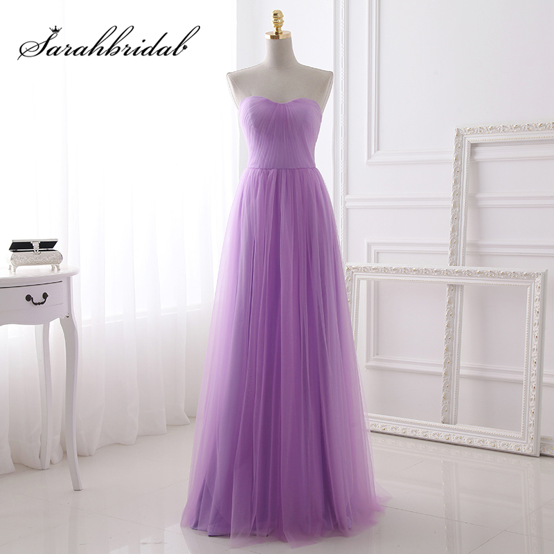 Lilac Tulle Sweetheart   Bridesmaid     Dresses   Long Pleat Cheap Women Wedding Party Gowns Simple Maid of Honor   Dress   SD392