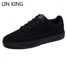 LIN KING Fashion Lace Up Casual Shoes Men Flats Shoes Breathable Low Top Ankle Shoes Shallow Light Sneakers Zapatos De Hombre недорого