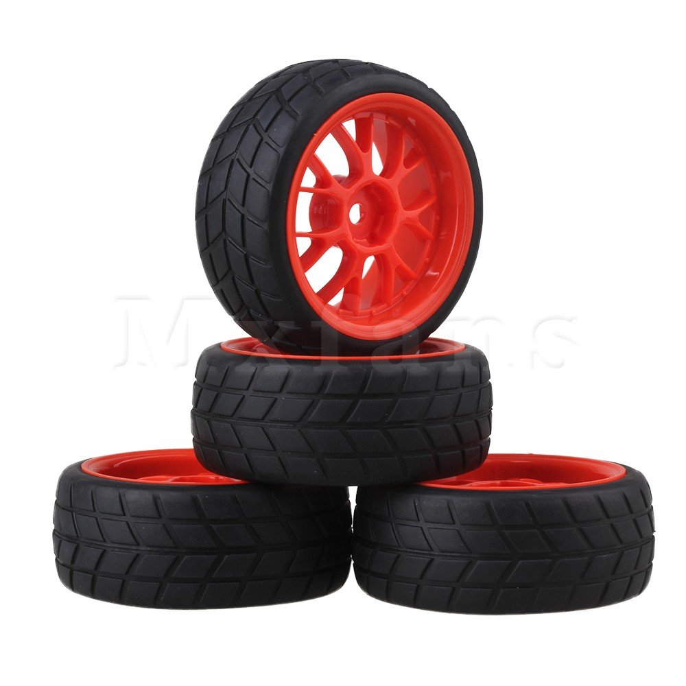 Mxfans RC 1: 10 on-road Racing Car Tires Red Y Type Wheel Rims 12mm Hub Pack of 4 mxfans rc 1 10 2 2 crawler car inflatable tires black alloy beadlock pack of 4