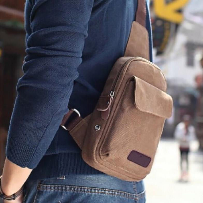 Small Canvas Vintage Shoulder Crossbody Bicycle Bag Messager Bags-Coffee