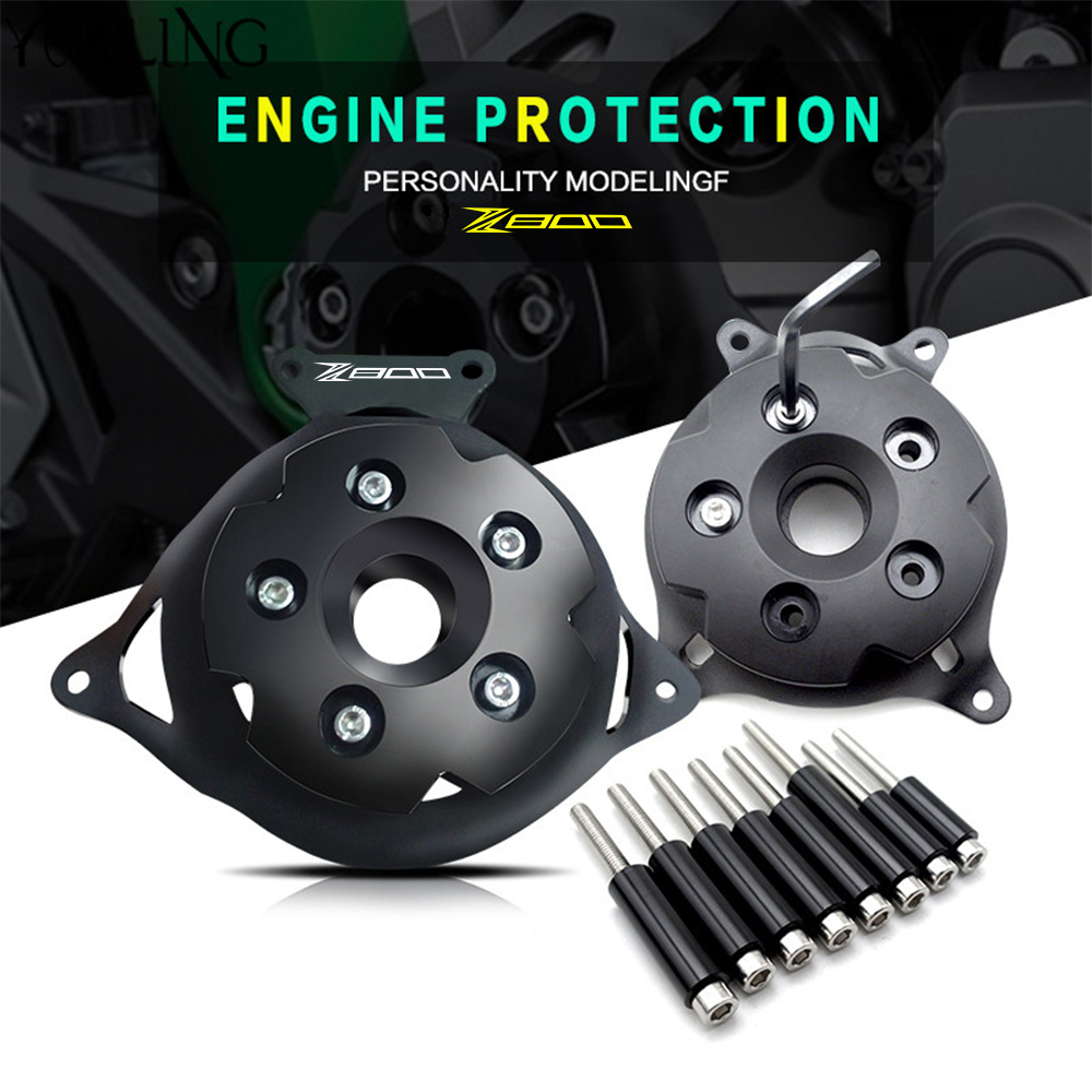 2PC Motorcycle Engine Stator Cover CNC Engine Protective Cover Left & Right Side Protector For KAWASAKI Z800 Z750 2013-2016 motorcycle cnc aluminum engine crankcase slider engine cover saver protection side shield for kawasaki z800 z750 2013 2016