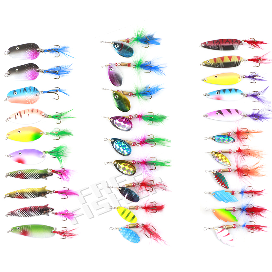 30pcs/set Spoon Lures Spinner kit with Feather for Pike Salmon Bass Rotation Fishing Sequins Hard Bait leurre peche brochet lucky john croco spoon big game mission 24гр 004