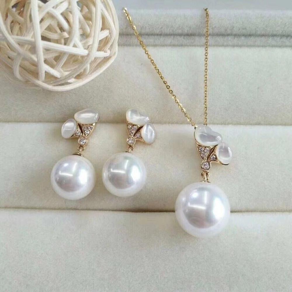 Magnifique 10-12 m mer du sud blanc perle boucle doreille et pendentifMagnifique 10-12 m mer du sud blanc perle boucle doreille et pendentif