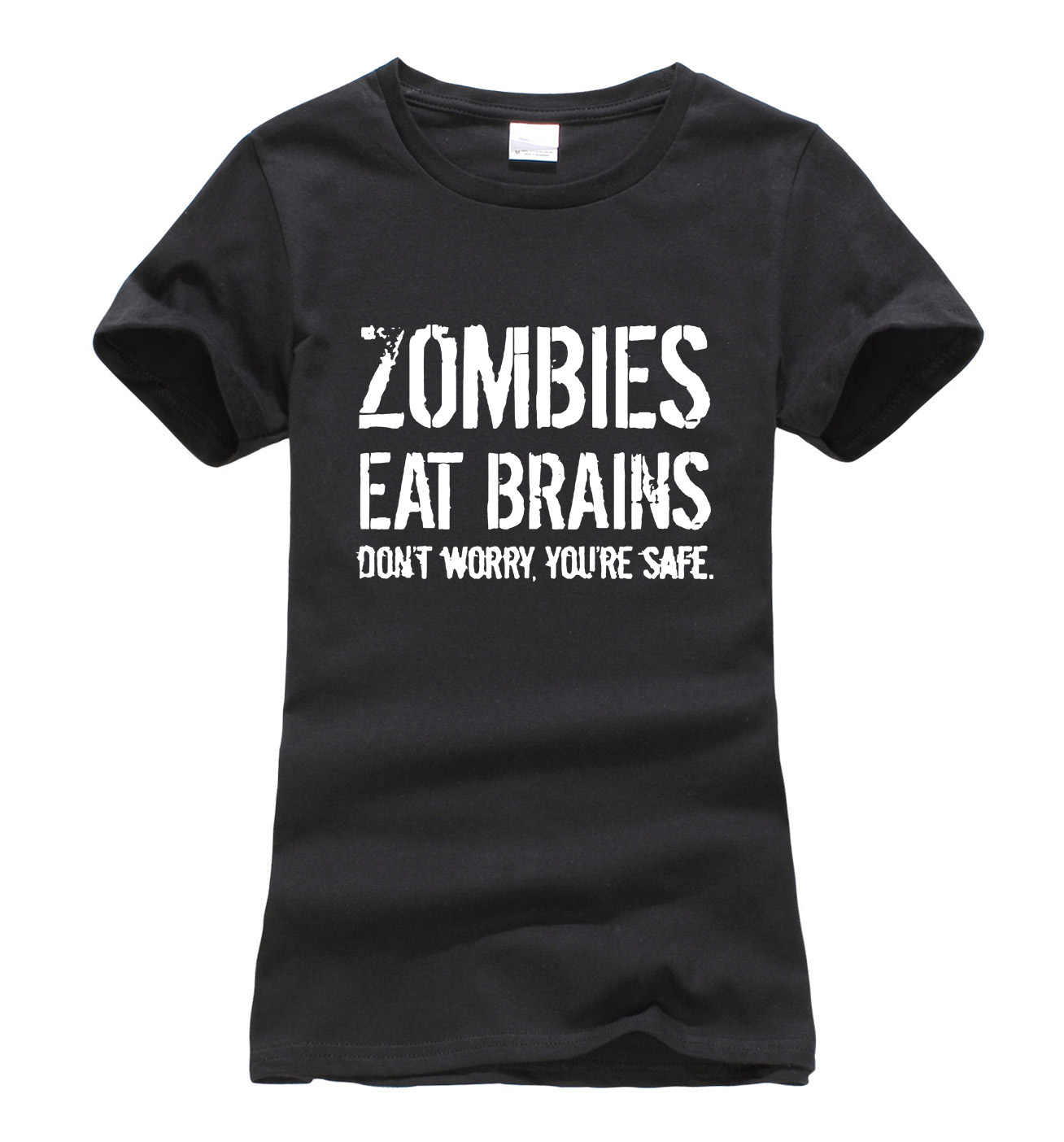Zombies Eat Brains so You're Safe print women t-shirt 2019 summer fashion harajuku brand korean tee shirt femme funny punk tops