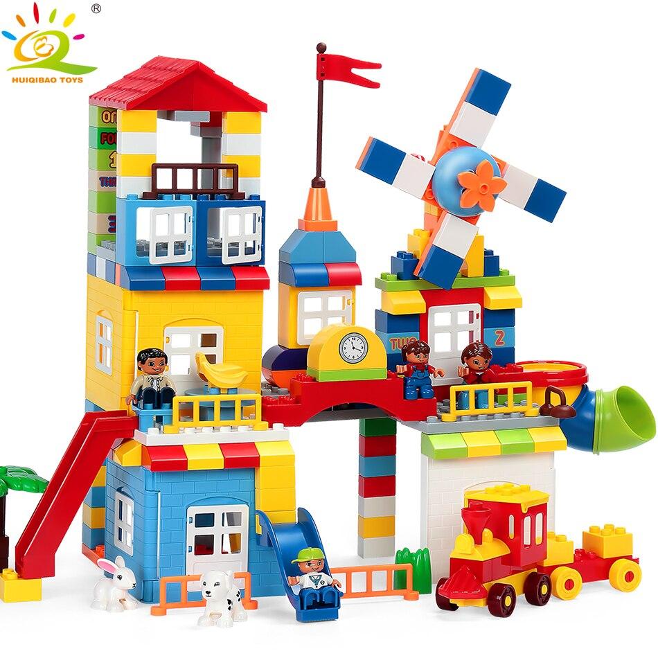 111/216 pièces bricolage moulin à vent parc grande taille blocs de construction Compatible Duploed Train maison ville briques à monter soi-même jouet pour les enfants