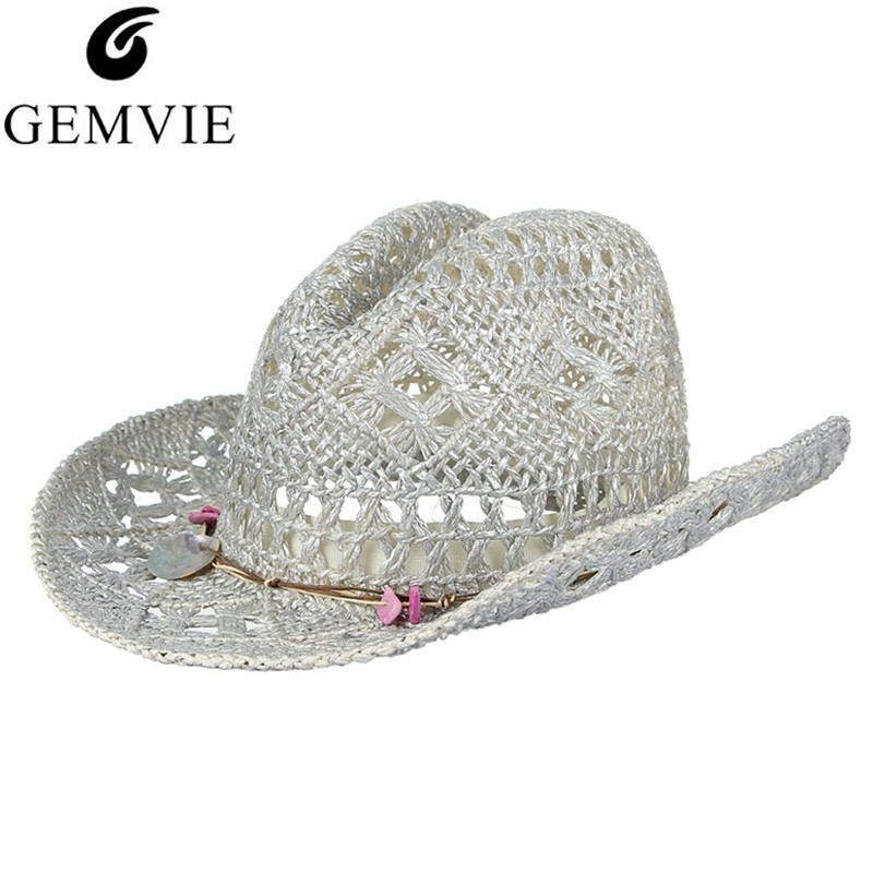 c2b1342fa GEMVIE Cowgirl Summer Hat for Women Western Cowboy Hat For Men Beads  Leather Belt Lady Straw Hat Trendy Woven Sun Hat Beach Cap