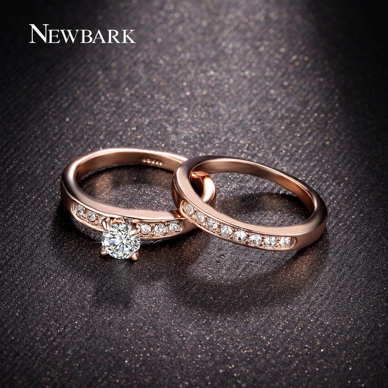 NEWBARK White And Rose Gold Color Wedding Bands Rings For Women High Quality Round CZ Prong Setting Engagement Jewelry