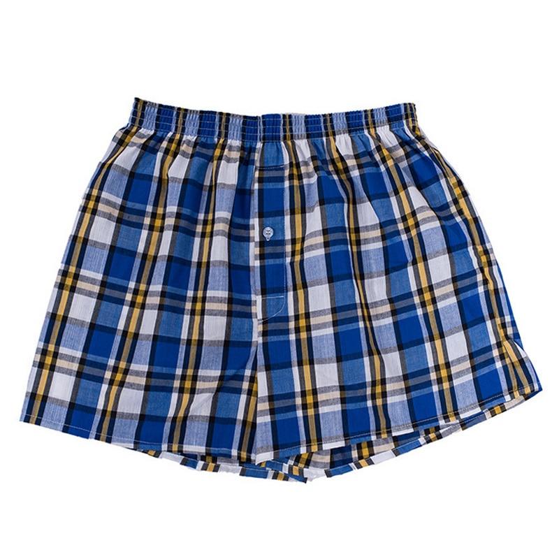 Pant Men Shorts Trunks Elastic-Waist Male Breathable Cotton Classic Plaid for Mix-Color