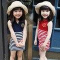 Kids Girls' Sleeveless Dress Summer Cotton Striped Dress for Girls Sundress Dress 2016 Baby Girls Casual Jersey Dress Blue Red