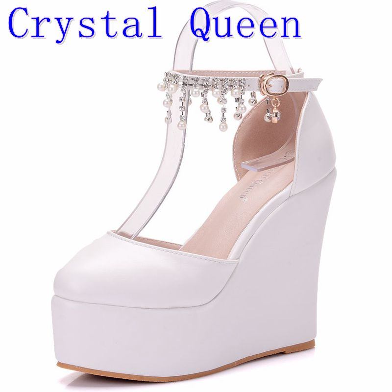 Crystal Queen Wedding White Sexy Women Wedges Sandals Extreme 13CM High Heels Ladies Platform Shoes Woman Summer style summer platform wedges party shoes for woman extreme high heels sexy wedding shoes woman comfort female shoes heel