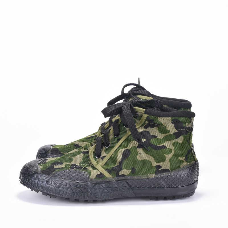 PLA Eğitim Savaş Ayakkabı Kamuflaj kanvas ayakkabılar Erkekler Askeri Botlar Orman Ordu Savaş Botları Aşınmaya Dayanıklı iş ayakkabısı Erkekler